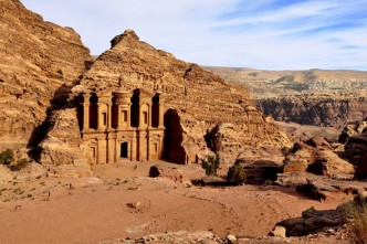 A view of the Monastery at Petra from the top of a nearby hill.